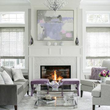 Modern Lilac and Gray Living Room