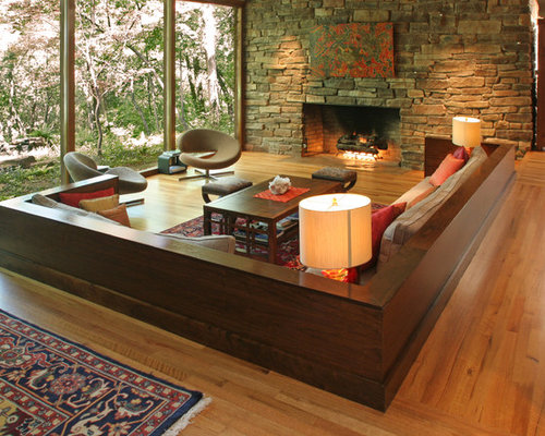 Inspiration For A Large Contemporary Open Concept Living Room Remodel In  Dallas With Medium Tone Wood Part 44
