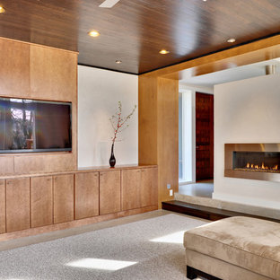 Contemporary living room in Other with a ribbon fireplace and a built-in media unit.