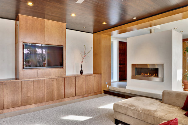 7 ways to rock a tv and fireplace combo. Black Bedroom Furniture Sets. Home Design Ideas