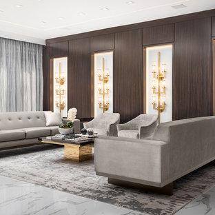 Foto de salón para visitas abierto, minimalista, grande, sin chimenea y televisor, con paredes marrones, suelo de mármol y suelo blanco