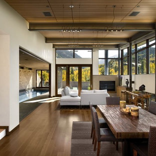 Idées déco pour un salon montagne avec une cheminée standard.