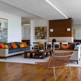 Immagine di un soggiorno minimalista con pareti bianche