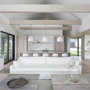 Ejemplo de salón abierto, moderno, con paredes blancas, suelo de madera clara, chimenea tradicional y marco de chimenea de yeso