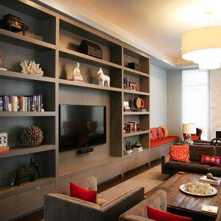 Ispirazione per un grande soggiorno moderno aperto con sala formale, pareti grigie, moquette, parete attrezzata, camino lineare Ribbon e cornice del camino piastrellata
