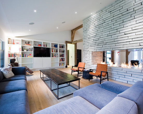 Modern Living Room With Brick Fireplace modern brick fireplace | houzz