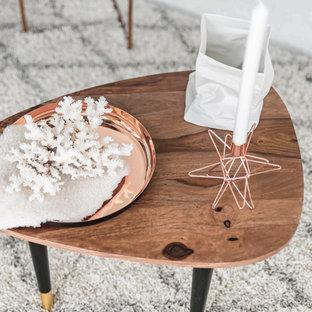Modelo de salón para visitas tipo loft, nórdico, pequeño, sin chimenea y televisor, con paredes blancas y moqueta