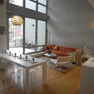 Minimalist open concept living room photo in New York with gray walls, no fireplace and no tv