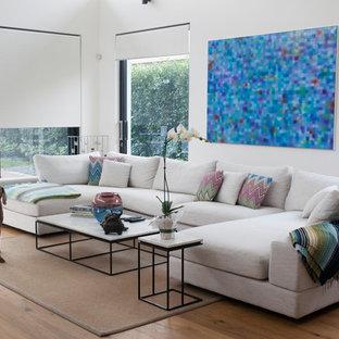 Modelo de salón moderno con paredes blancas y suelo de madera en tonos medios