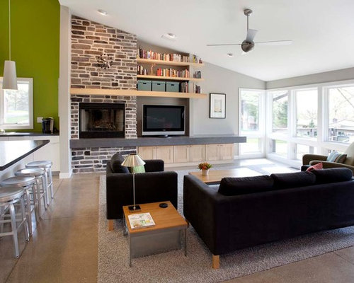Tv Next To Fireplace Houzz
