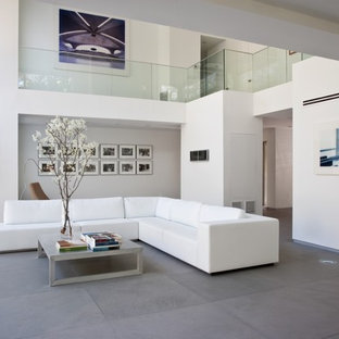 Example Of A Minimalist Formal Limestone Floor And Gray Living Room Design In Kansas City