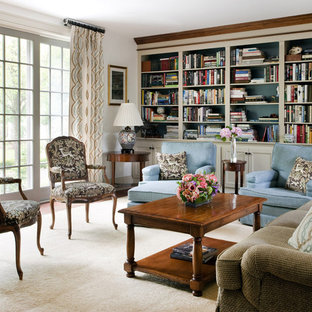 Living room library - modern living room library idea in Boston