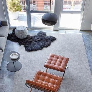 Modelo de salón tipo loft, minimalista, pequeño, con paredes blancas, suelo de cemento, chimeneas suspendidas y televisor colgado en la pared
