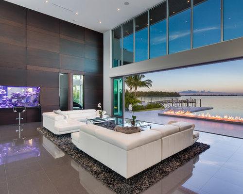 Offenes Modernes Wohnzimmer Mit Marmorboden In Miami