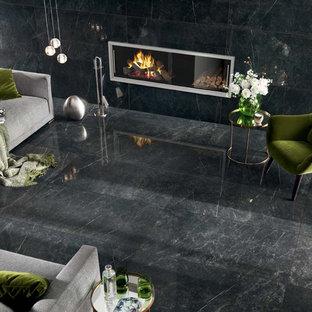 Modern living room with black marble look porcelain tile