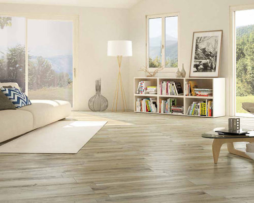 Modern living room with light colored wood look porcelain - Wood look ceramic tile in living room ...