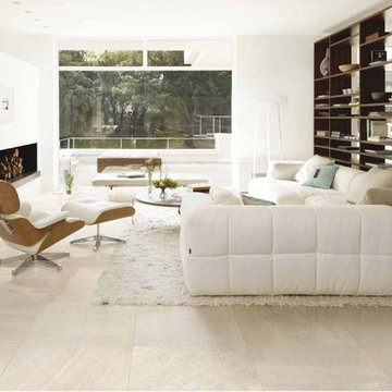 Modern living room with white porcelain tiles
