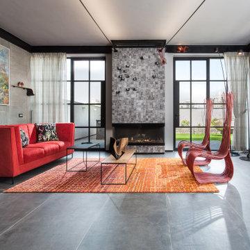Modern loft like living room with illuminated art
