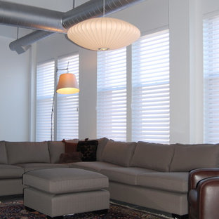 This is an example of a modern living room in Boston with concrete floors.