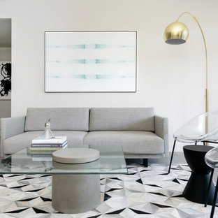 Ejemplo de salón tipo loft, minimalista, pequeño, sin chimenea, con paredes grises, suelo de cemento, televisor colgado en la pared y suelo gris