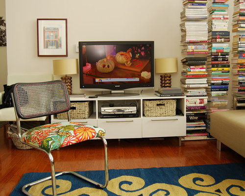 Eclectic Living Room Idea In DC Metro With Beige Walls And A Tv Stand