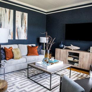 Cette image montre un petit salon minimaliste fermé avec un mur bleu, un sol en bois brun, un téléviseur fixé au mur et un sol gris.