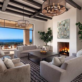 Idee per un grande soggiorno contemporaneo aperto con pareti bianche, camino classico, sala formale, parquet chiaro e nessuna TV