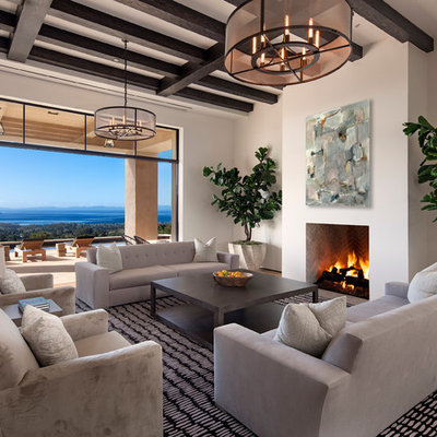 Living room - large contemporary formal and open concept light wood floor living room idea in Santa Barbara with white walls, a standard fireplace and no tv