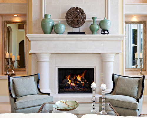 Fireplace decorating houzz for How to decorate living room with fireplace