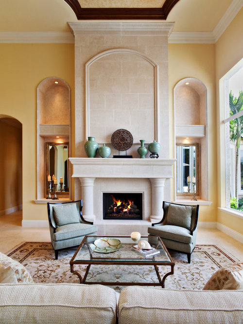 Nice Inspiration For A Mediterranean Living Room Remodel In Miami With Yellow  Walls Design