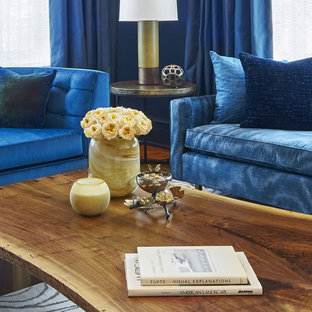 Example of a large transitional formal and enclosed medium tone wood floor and brown floor living room design in New York with blue walls and a concealed tv