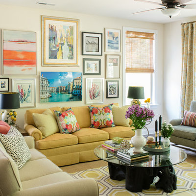 Mid-sized eclectic living room photo in Charlotte with beige walls