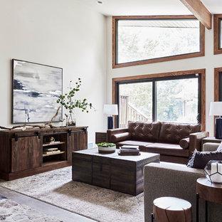 Ispirazione per un grande soggiorno stile rurale aperto con pareti bianche, pavimento in gres porcellanato, cornice del camino in pietra e pavimento grigio