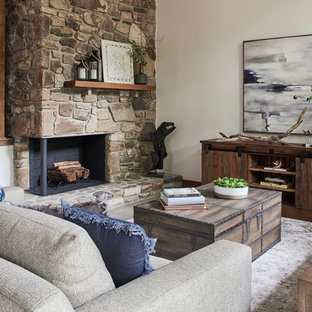 Living room - large rustic open concept porcelain floor and gray floor living room idea in Richmond with white walls, a two-sided fireplace and a stone fireplace