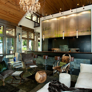 Example of a mountain style living room design in Charlotte