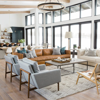 Inspiration for a transitional open concept living room remodel in Salt Lake City with white walls