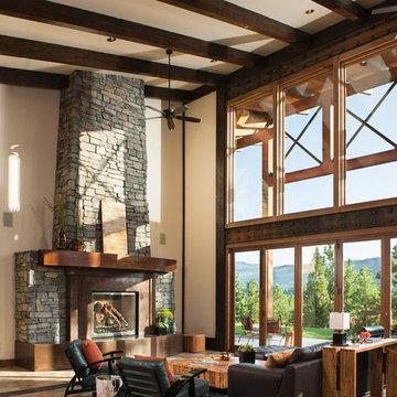Modern Mountain Timber Frame Home: The Suncadia Residence - Living Room