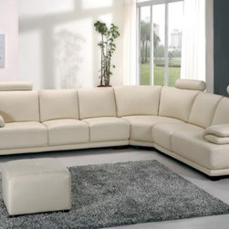 Modern Off White Leather Sectional Sofa with Adjustable Headrests & Armrests - Features: