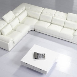 Modern Off White Leather Sectional Sofa with Adjustable Tufted Headrests - Features: