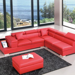 Modern Red Leather Sectional Sofa with Adjustable Headrests - Features: