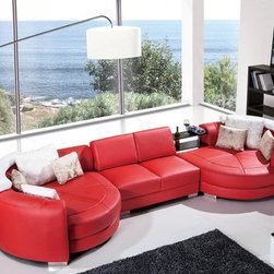 Modern Red Leather Sectional Sofa with Chaise - Features: