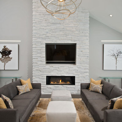 Inspiration for a contemporary living room remodel in Boston with gray walls, a ribbon fireplace and a wall-mounted tv