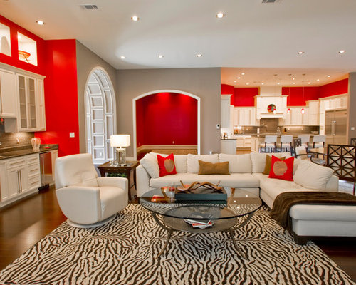 Red And Gray Living Room Design Ideas, Renovations & Photos