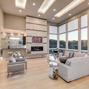 オースティンのコンテンポラリースタイルのおしゃれなLDK (グレーの壁、淡色無垢フローリング、横長型暖炉、ベージュの床、折り上げ天井) の写真