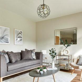 Idee per un soggiorno nordico di medie dimensioni e aperto con pareti grigie, pavimento in laminato, nessun camino, nessuna TV e pavimento marrone