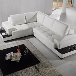 Modern Sectional Sofa in White Bonded Leather - Features: