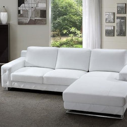 Modern Sectional Sofa in White Leather - Features: