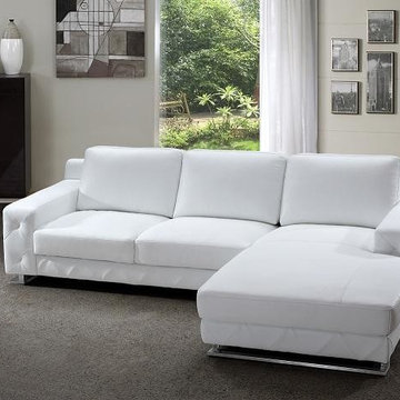 Modern Sectional Sofa in White Leather