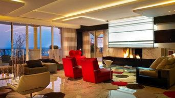 Modern  See Through Fireplace