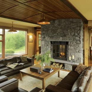Ispirazione per un soggiorno contemporaneo con cornice del camino in pietra